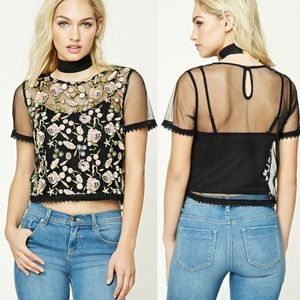 F21 • Contemporary Mesh Floral Top